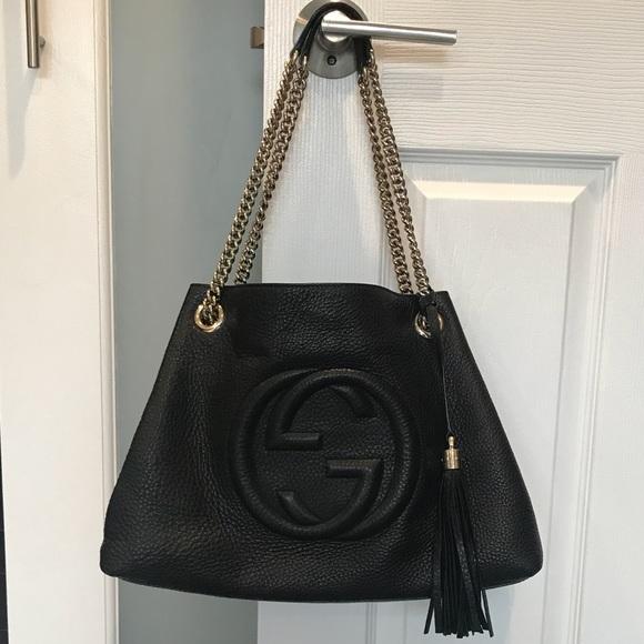 88edaeb24508 Gucci Bags | Black Soho Medium Leather Shoulder Bag | Poshmark